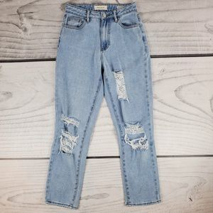 PACSUN Light Wash MOM Distressed Jeans Size 24